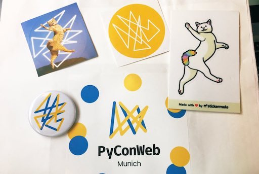 PyConWeb 2019 swag, featuring CharField himself. 🐈