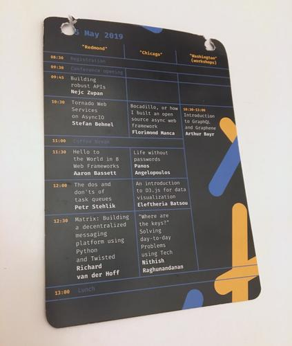 Printed schedule for the morning of May 25th at PyConWeb 2019.